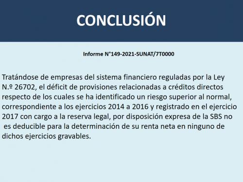 INFORME N° 149-2021-SUNAT: SOBRE EMPRESAS DEL SISTEMA FINANCIERO REGULADAS POR LA LEY N.º 26702.