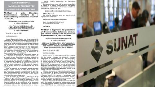 MODIFICAN EL REGLAMENTO DE  FRACCIONAMIENTO DE LA DEUDA TRIBUTARIA  Y LA RESOLUCIÓN DE SUPERINTENDENCIA N° 190-2015/SUNAT