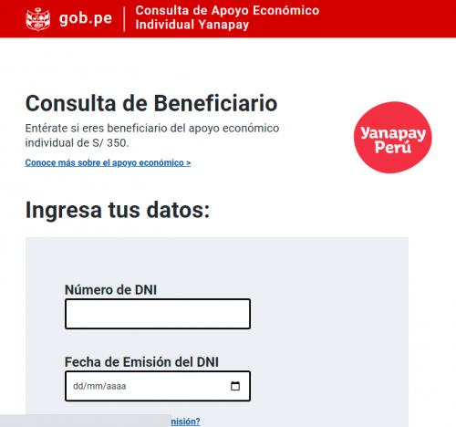 BENEFICIARIOS PODRÁN ACCEDER A BONO YANAPAY PERÚ DESDE HOY 13 DE SETIEMBRE
